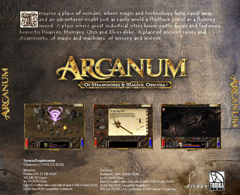 Arcanum: Of Steamworks and Magick Obscura - zadný CD obal
