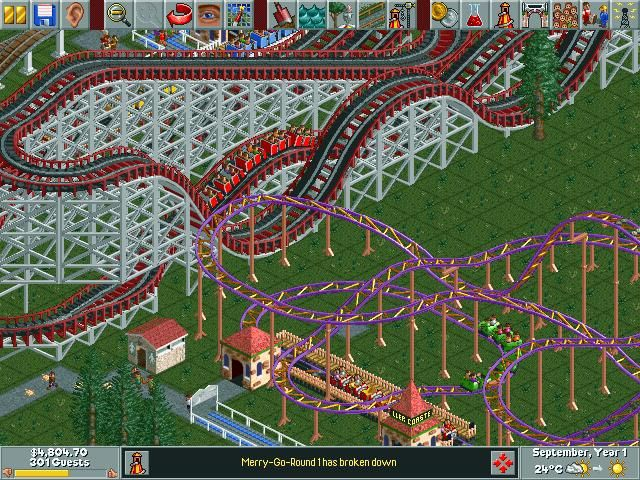 Zprava roller coaster tycoon 1 en roller coaster tycoon screenshoty